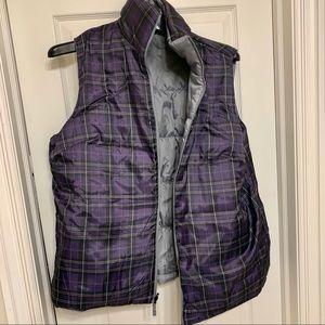 Reversible puffer vest purple plaid silver